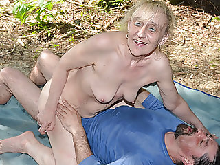 86 years old granny rough outdoor banged