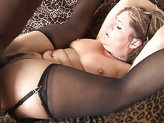 stocking slut gets big black cock