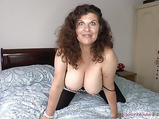 Big tits brunette mature shaking natural tits on the bed