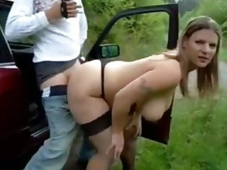 Naughty BBW Filled Up with Cum By Lucky Stranger Outdoor