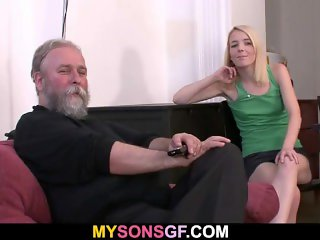Bearded Stepfather in law funish son's young gf
