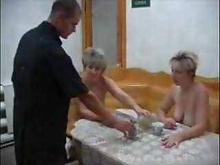 Two Mature Ladys Seducing A Young Stud