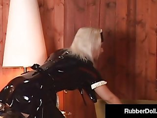 Busty Latex Babe, RubberDoll Finger Fucked By Shiny Maid!