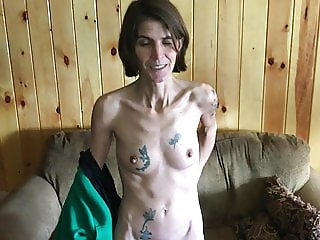 Skinny tattooed wife with hairy pussy stripping