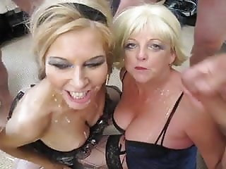 2 Hot Blonde UK Sluts get a Cum Shower