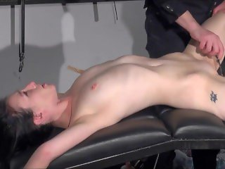 Gagged amateur slaves sextoy domination and spanked blowjob of whipped sub