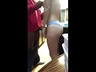 Young couple fuck in mom's kitchen