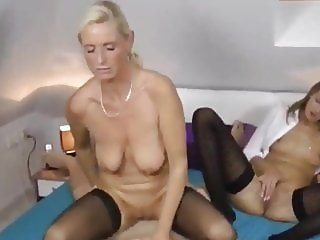 two shameless busty milf trying to fuck one lucky young boy