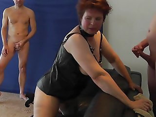 Horny amateur mom gangbanged by two big cocks and facial