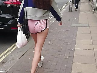 Candid Little Arse Teen - Tiny Shorts Smooth Legs - VPL