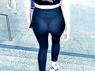 Girl with transparent leggings showing her thong