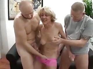 Old Lady with Two Guys and a little cock rubbing