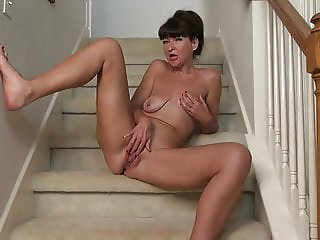 Old woman with saggy tits and hungry cunt
