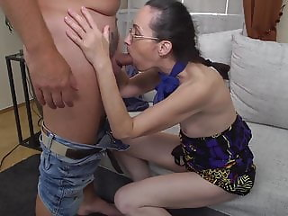 Slim mother suck and fuck mature daddy