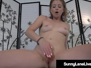 Petite Blonde Sunny Lane Plays With Her Pretty Pussy!