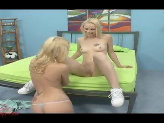Hot blond mommy fucks hot blond teeny with dildo and strapon hard as fuck
