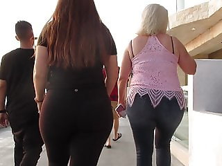 Like mother like daughter PAWGs on a boardwalk booty parade