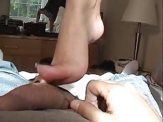 Blonde girl foot masturbation