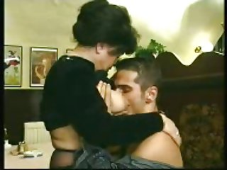 chubby old granny fucked in cafe with young man