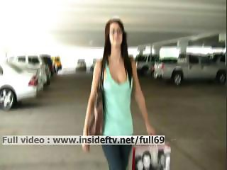 Victoria _ Amateur brunette showing her tits in public and masturbating