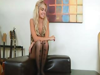 blonde with black stocking and toy