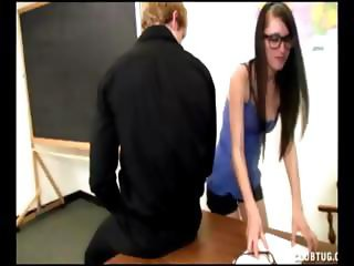 Nerdy student gives teacher a wankjob