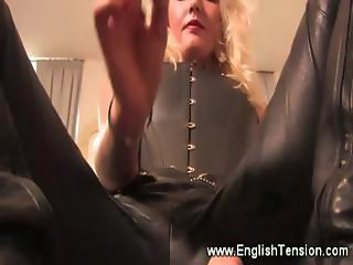 Dominatrix burns her subject with cigar