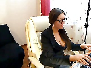 Czech Secretary fingers in stockings