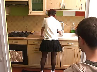 boy visit mom in kitchen