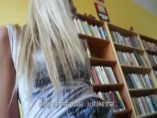 Sexy blonde gets fucked in library