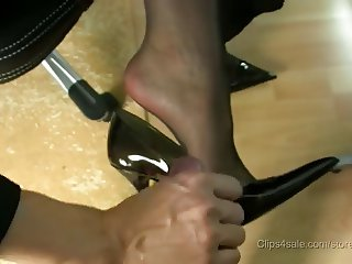 stocking footjob with cumshot in high heels