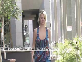 Nicole _ Amateur blonde flashing her boobs and playing with pussy in public