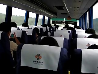 getting off on a crowded bus