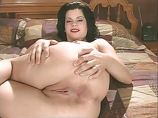 Office boss shows off her shaved pussy