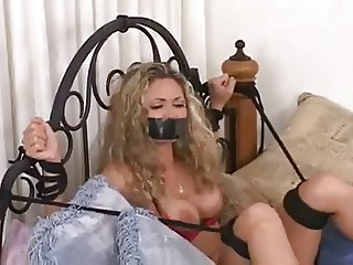 2 Very Sexy Girls Tied on Bed Together