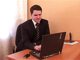 Quickie fucking of young couple in office
