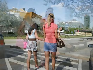 2 hot chicks on high heels in public street + upskirt