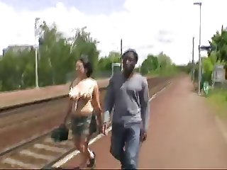 French Girl fucks african in the car and bus stop