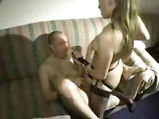 Dirty talking woman fucks a dude