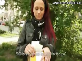 Redhead amateur eurobabe picked up and anal fucked for money