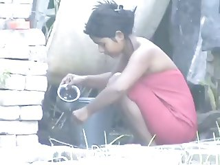 wow... awesome desi village beauty bathing outside