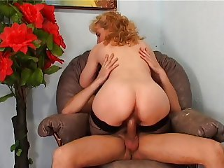 Mature Frenchie with big bush anal fucked by the neighbor's son in her armchair