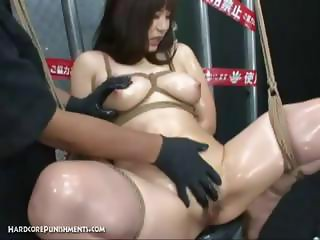 Beautiful Japanese hottie with a set of big breasts gets tied up and played with
