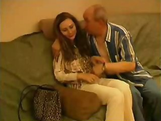 Nasty bald old man is mauling innocent pretty girl with such eagerness