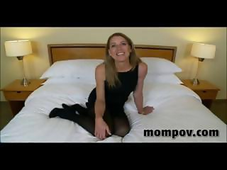 Mature blonde housewife gives him a blowjob, handjob and titty fuck