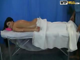 Cute brunette Agnessa goes in for a massage and gets a nice fuck