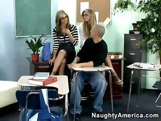 Two super-hot MILFs give college guy a real awesome sex lesson