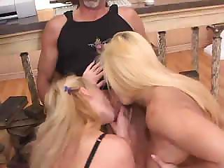 Two hot blondes fighting over a one lucky cock