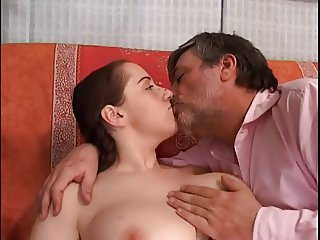 Busty Girl and Old Pervert Man