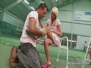 Sexy blonde babe gets her wet pussy part1